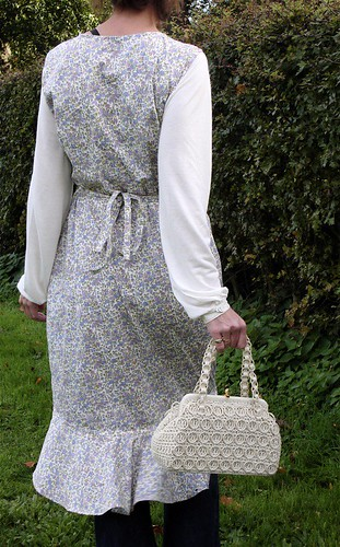 Country style wrap dress with vintage crochet bag.