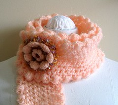 Hand crocheted SCARF with BROOCH - FREE SHIPPING (hotbeads) Tags: flower girl scarf clothing women handmade brooch crochet apricot accessories neckwarmer outerwear scarflette mohairyarn buglebead