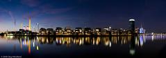 Westhafen-Panorama, Frankfurt am Main (jwendland) Tags: longexposure panorama water skyline night landscape outside twilight wasser nacht outdoor dusk frankfurt main dmmerung landschaft westhafen westhafentower nightfall blauestunde langzeit zwielicht drausen