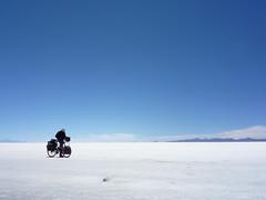 Uyuni Salt Flats, Bolivia (AJoStone) Tags: cycling cyclist bolivia saltflats uyuni