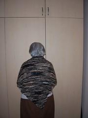 Utku's gran modeling her new shawl