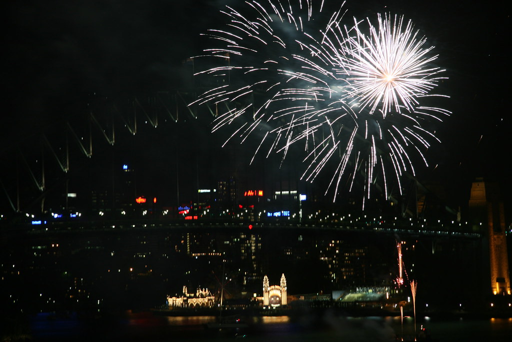 Fireworks in front of the Harbour Bridge
