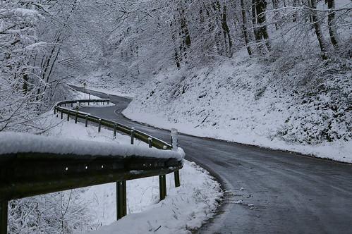 Träumhafter Weg in Winterlandschaft