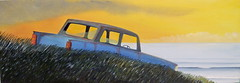 Carcasse (of-etoile1) Tags: sunset sea orange mer painting voiture peinture carwreck couchant carcasse vieillevoiture pave