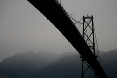 Vancouver - Straight Through (Caroline Forest Images) Tags: bridge canada rain fog vancouver bc britishcolumbia gray westcoast lionsgate