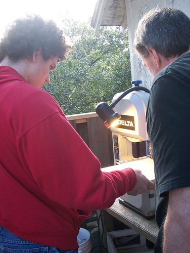 Cutting masonite on the band saw