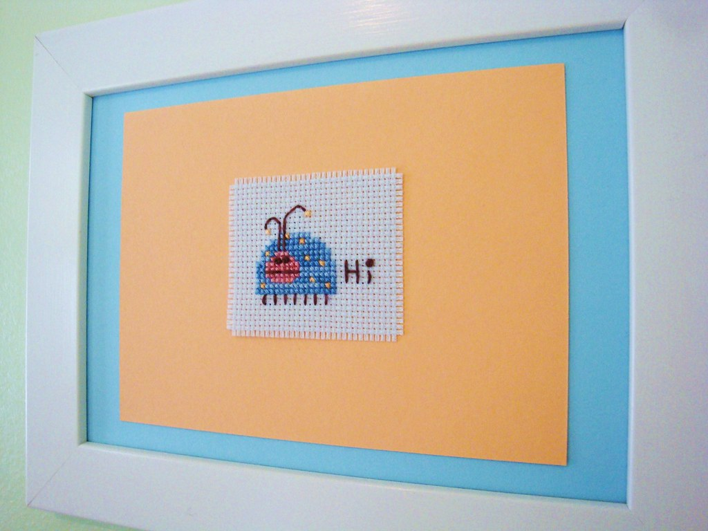 Hi Bug - Framed hand-stitched piece - nursery - kid room
