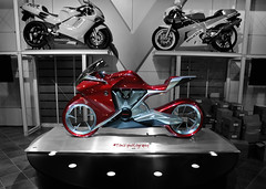 Robot Bike (Toni_V) Tags: red bw bike honda switzerland zurich motorcycle 2009 conceptbike d300 colorkey prototyp swissmoto selectivecolors capturenx 1685mm messezrich