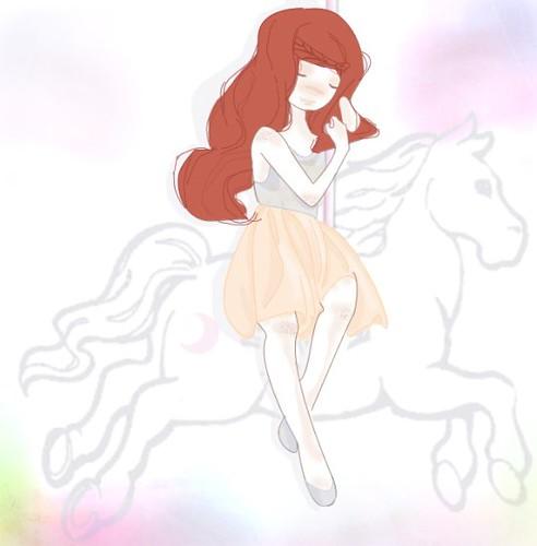 girl on carusel