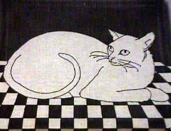 Marushka: cat on tile floor (black)