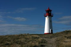 red white blue green (Lunochod) Tags: blue red sky lighthouse white building green vertical clouds germany afternoon sylt leuchtturm deutsch vertikal digikam