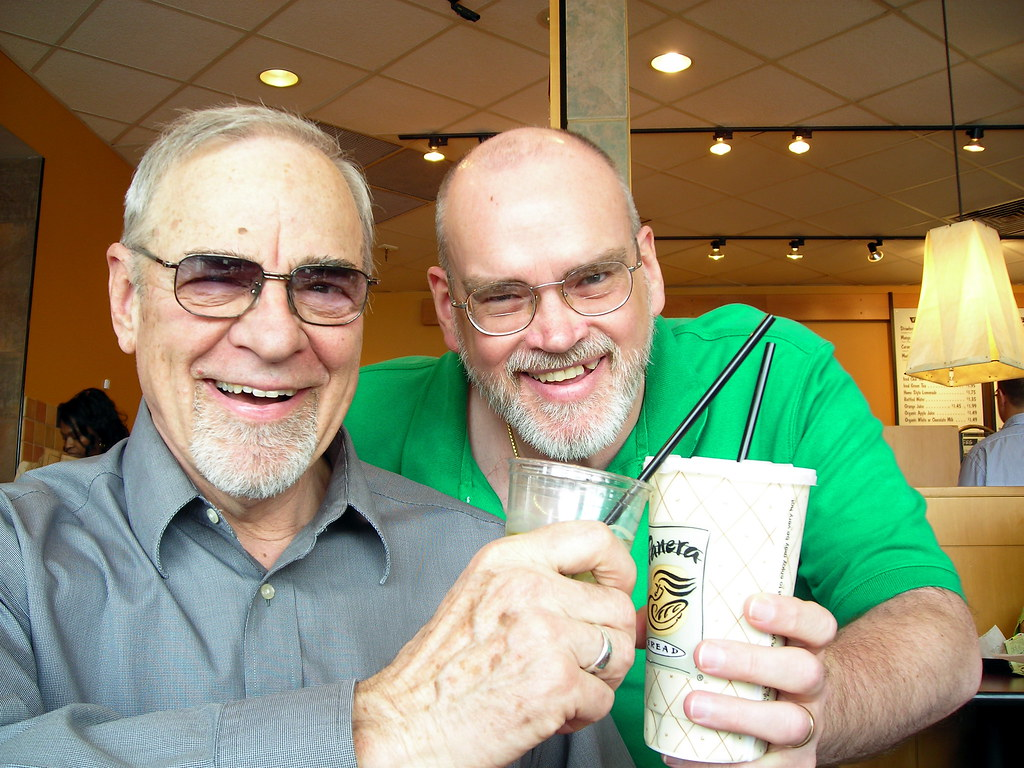 Cheers to you from Panera, with one of my long-time mentors - Lunch out 2008, #1