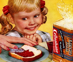 Creepy little girl (MsBlueSky) Tags: girl children bread weird kid scary fifties hand toast ad creepy advertisement 1950s 50s