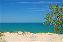 Across Lake Michigan (Tom Gill.) Tags: lake beach water sand dune indiana lakemichigan explore chicagoskyline mtbaldy