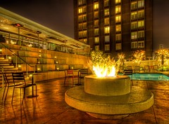 A Warm Fire by the Pool at the Custom (Stuck in Customs) Tags: california lighting light panorama green texture pool bar club night reflections fire photography hotel la los cool nikon perfect colorful mood photographer audience bright angeles mosaic details perspective romance trendy pro nightlife lax custom tablet tones magical hdr stuckincustoms treyratcliff tablethotel customhotel