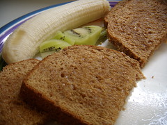 Whole wheat toast, local honey, organic kiwi and banana