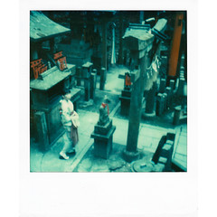 (Masahiro Makino) Tags: woman japan female photoshop sx70 japanese kyoto gate shrine adobe  kimono torii  fushimiinari lightroom poraloid  600film  pola2007011311p