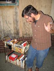 Cory Inherits the motherlode ( my books ). (ctanstfl) Tags: man germantown reader kentucky ky books louisville prize cory nachbar booklover thenachbar