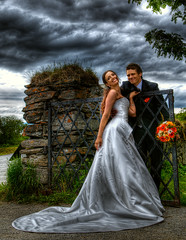 HDR Wedding (Amundn) Tags: flowers wedding norway clouds groom bride nikon gate handheld weddingdress hdr harstad irongate d300 photomatix 5xp trondenes