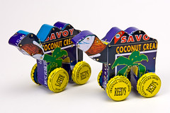 Tropical Camels (loranscruggs) Tags: art animal toys tin bottle colorful recycled caps cans eco rolling pushtoy