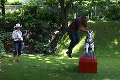 Denroy execute a running dismount