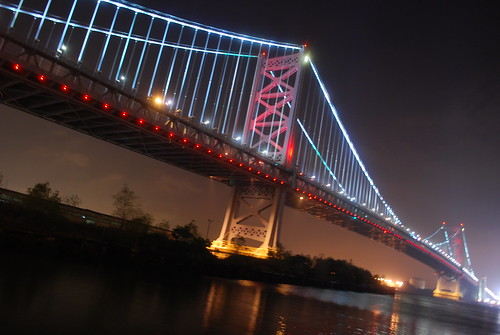 Ben Franklin Bridge by night