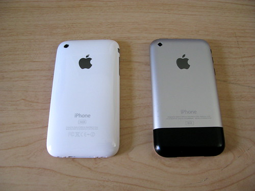 My white 16GB iPhone 3G next to my old 8GB iPhone that I've had since the