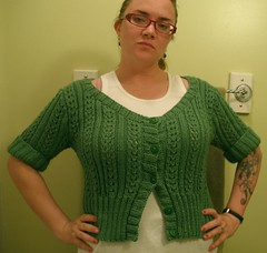 Lace Cardi green on green