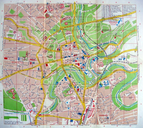 PARIS 2e: Luxembourg City Map 1967 Luxembourg City Map
