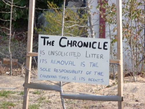 The Chronicle is unsolicited litter. Its removal is the sole responsibility of the Canberra Times and its agents.