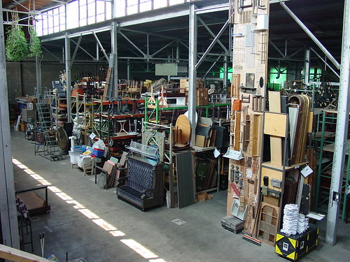 A view of the furniture aisles from the hand prop aisle