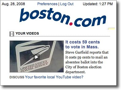 Featured on boston.com: 59 cents to vote
