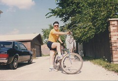 Eddie K and his bicycle in Burbank Illinois. July 1989.