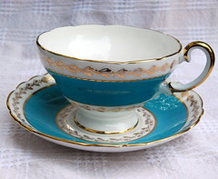 Crown Staffordshire cup and saucer (calloohcallay) Tags: england english cup set vintage gold tea turquoise teal formal housewares dishes porcelain saucer gilt bonechina calloohcallay crownstaffordshire