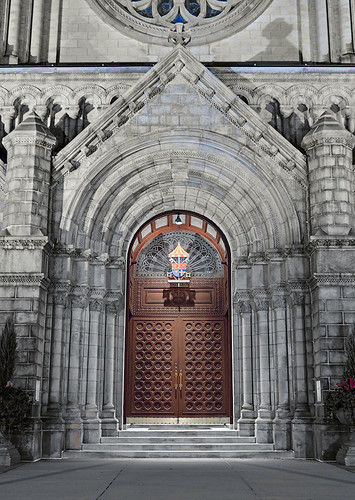 Cathedral Basilica of Saint Louis, in Saint Louis, Missouri, USA - main door at night