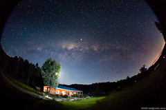 Night Sky Over Country House (neilcreek) Tags: sky house night stars flash assignment astro fisheye galaxy final astrophotography planet jupiter astrophoto timeinabottle strobist lighting102 Astrometrydotnet:id=alpha20080948086455