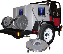 "Pressure Cleaning Hot Water Trailer Package 3500 PSI @ 4.5 GPM with 28"" Surface Cleaner Sale Price $7,995.00 contact Dan Swede 800-731-7789 or email me at dan@ices.net. Save $5,200.00 Sale Ends 12/01/"