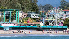 Ferris From Afar (cwgoodroe) Tags: california carnival blue wedding summer santacruz sun color beach water sand surf candy games boardwalk rollercoaster