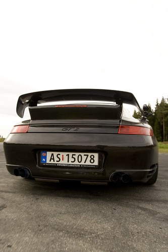 The Behind of the Porsche 911 GT2 - Gardermoen, SS1, Auto Slalom - 2008-09-28