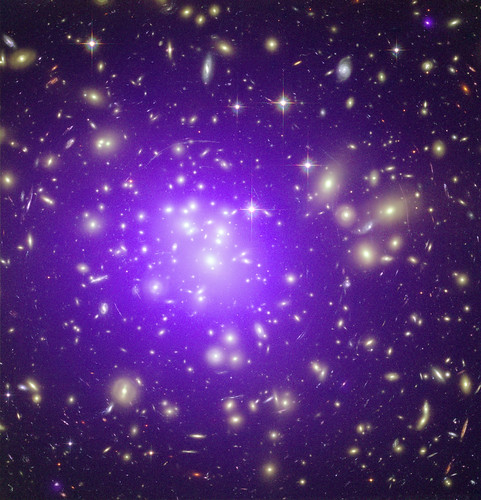 Abell 1689A Galaxy Cluster Makes Its Mark (A galaxy cluster at a distance of about 2.3 billion light years from Earth.)...