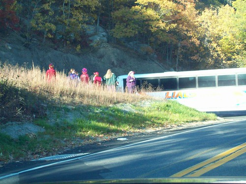 Red hat ladies waiting for bus to be towed out of hairp[n turn near New Paltz