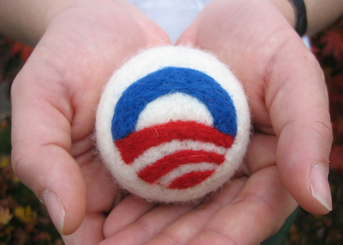 Needle Felted Obama Logo