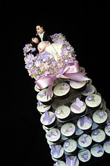 Cupcake tower of butterflies and flowers (franjmc) Tags: franjmc cupcakes wedding mauve violet purple butterflies flowers brideandgroom
