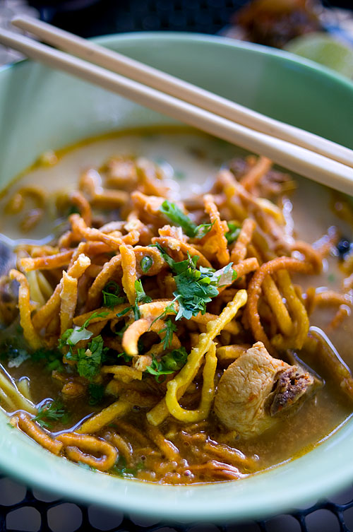 A bowl of chicken khao soi at Somkhuan Khao Soi, Chiang Rai, Thailand