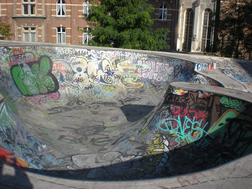 Graffiti in a skatepark in Brussels, Belgium. The Philadelphia creation has gone global.