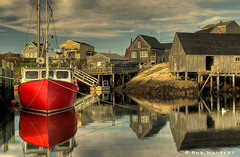 Red Boat at Peggy's Cove, Nova Scotia (Rob Huntley - Kite Aerial Photography) Tags: reflection reflections boats bravo novascotia harbour cove fishingboats peggyscove fishingboat hdr highdynamicrange atlanticcanada photodesk buoyant traditionalwoodenboats TGAM:photodesk=reflection photodeskreflection