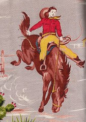 Barkcloth cowboy (cluttershop) Tags: horse cowboy vintagefabric rodeo wildwest barkcloth