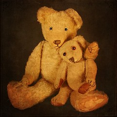 Alfie & Bertie.       Teddy Bears (Lensational) Tags: bear portrait cute art vintage painting toy teddy antique canvas textures study worn layers paintshoppro teddies loved teddybears collectable mywinners nurseryart theunforgettablepictures teddybearart goldstaraward lensational