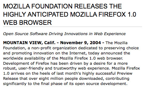MOZILLA FOUNDATION RELEASES THE HIGHLY ANTICIPATED MOZILLA FIREFOX 1.0 WEB BROWSER