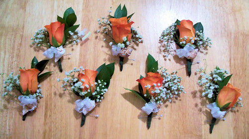 Coral Rose Corsage with Shell